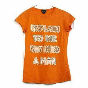 Dots Juniors T-Shirt Size S Orange Explain To Me W
